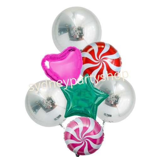 Silver and Candy swirl balloon bouquet