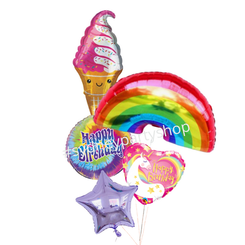 Colorful party balloon bouquet