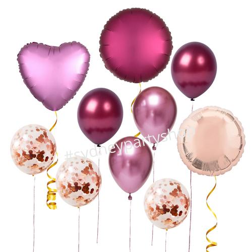 Burgundy loose balloons set