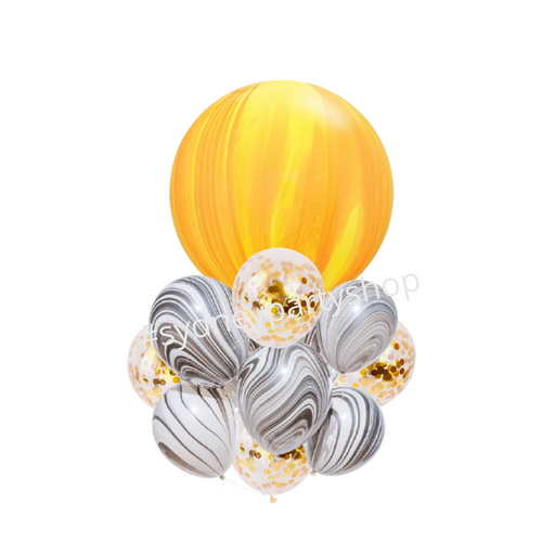 Marble and confetti balloon bouquet