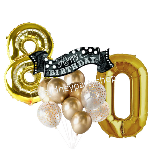Movie-themed balloon bouquet with number set