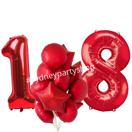 All red balloon bouquet set