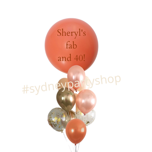 Personalized Coral balloon bouquet