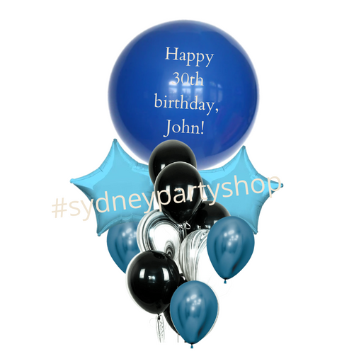 Personalized Black and Blue balloon bouquet