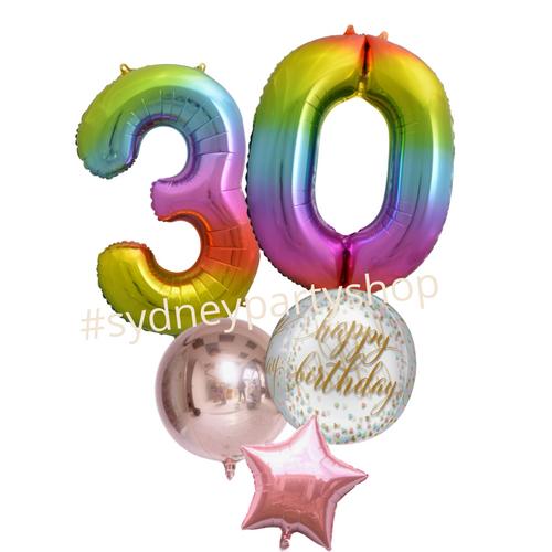 Rainbow Happy birthday balloon bouquet