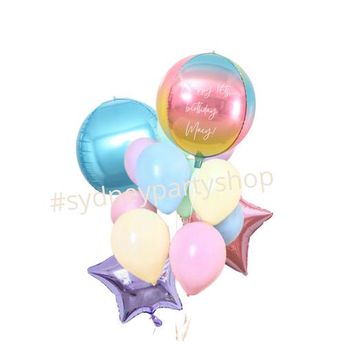 Pastel personalized rainbow balloon bouquet
