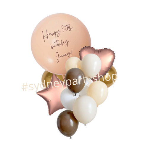 Personalized Nude and gold balloon bouquet