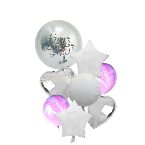 Silver foils and marble personalized balloon bouquet