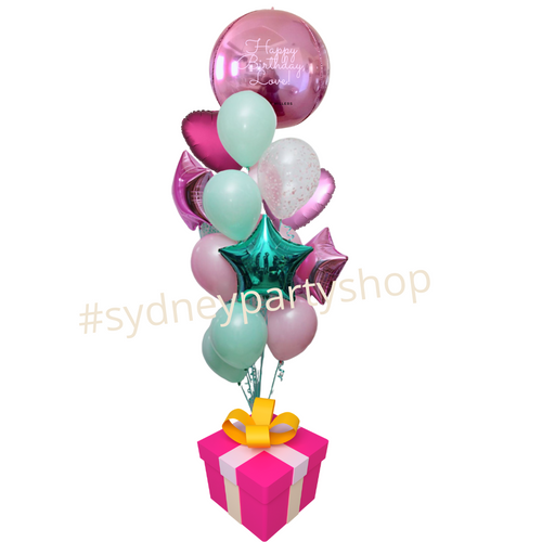 Personalized App  Pink and Blue foil balloon bouquet