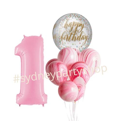 Happy birthday marble balloon bouquet