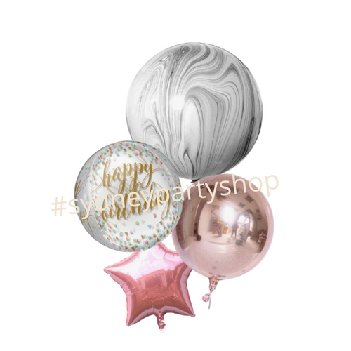 Gray and pink balloon bouquet