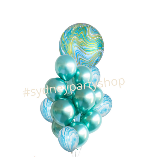 All blue marble and chrome balloon bouquet