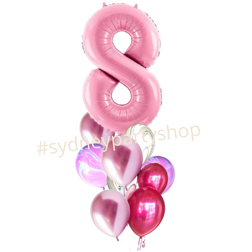 Shades of pink Marble balloons bouquet with number