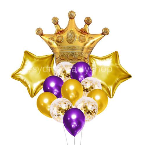 Queen Royal & purple balloon bouquet