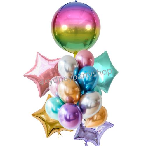 All metallic Rainbow balloon bouquet