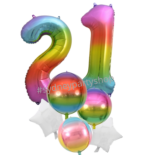 Party Rainbow birthday balloon bouquet with numbers