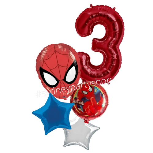 Spiderman foil balloon bouquet with number
