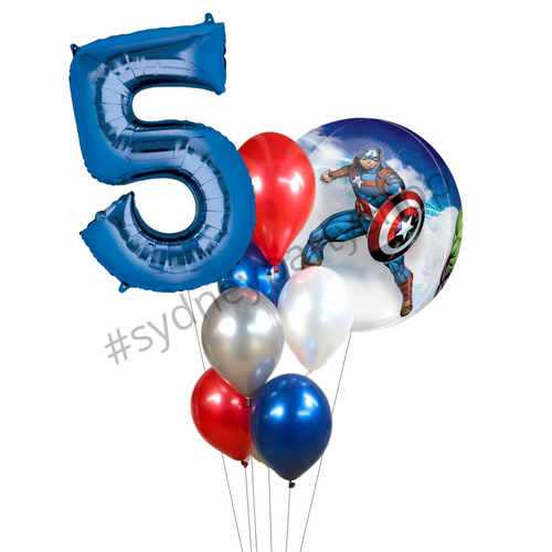 Capt America avengers balloon bouquet with number