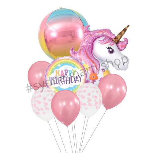 Unicorn themed birthday balloon bouquet
