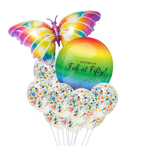 Personalized butterfly confetti balloon bouquet