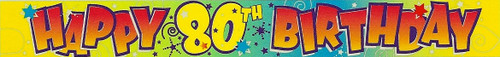 BANNER 3.6m (12') 80th BIRTHDAY FOIL