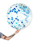 Blue Darkblue Confetti Jumbo 90cm Inflated On Weight