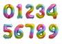 Rainbow Number 4 Four Foil Balloon