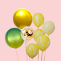 Yellow marble and orbz balloon bouquet