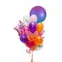 Purple, pink and orange birthday balloons