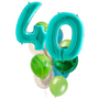 Turquoise balloons with numbers