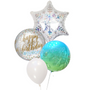 Snowflakes and orbz birthday balloon bouquet