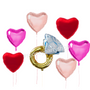 Hearts  & Diamond ring proposal balloons