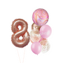 Rose gold marble and foils balloon bouquet with numbers
