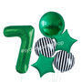 Green and Stripes balloon with number set