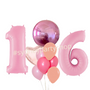 Pastel Pink shades with number foil balloons set
