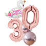 Swan themed metallic birthday balloon bouquet
