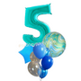 Marble blue balloon bouquet with number
