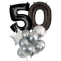 Jumbo Silver and black balloon bouquet
