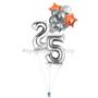 Silver and orange jumbo balloon bouquet