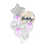 Purple and silver birthday balloon bouquet