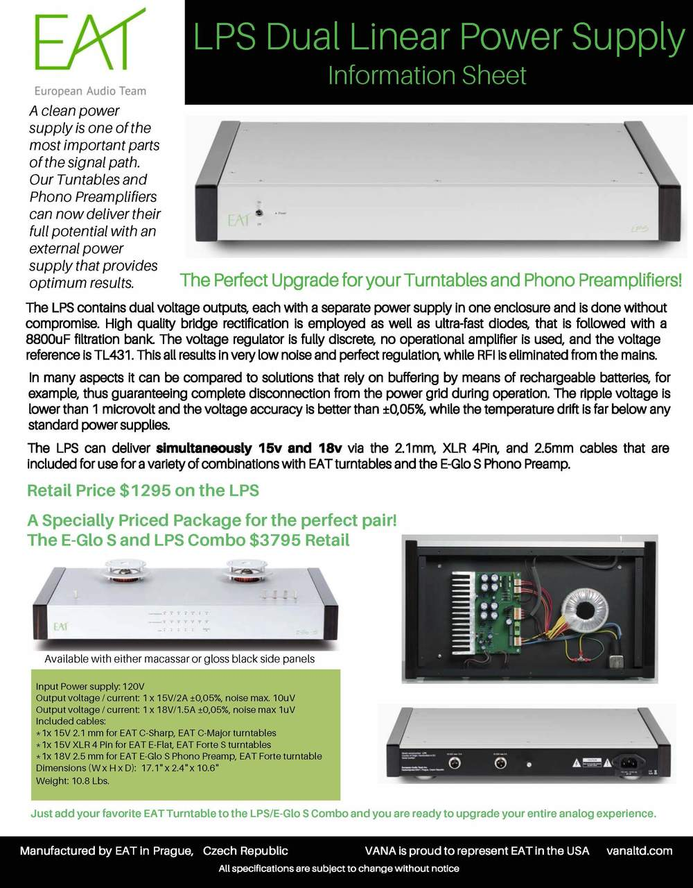 FACT SHEET EAT LPS Linear Power Supply for E-Glo S. Ultra Quiet. X2