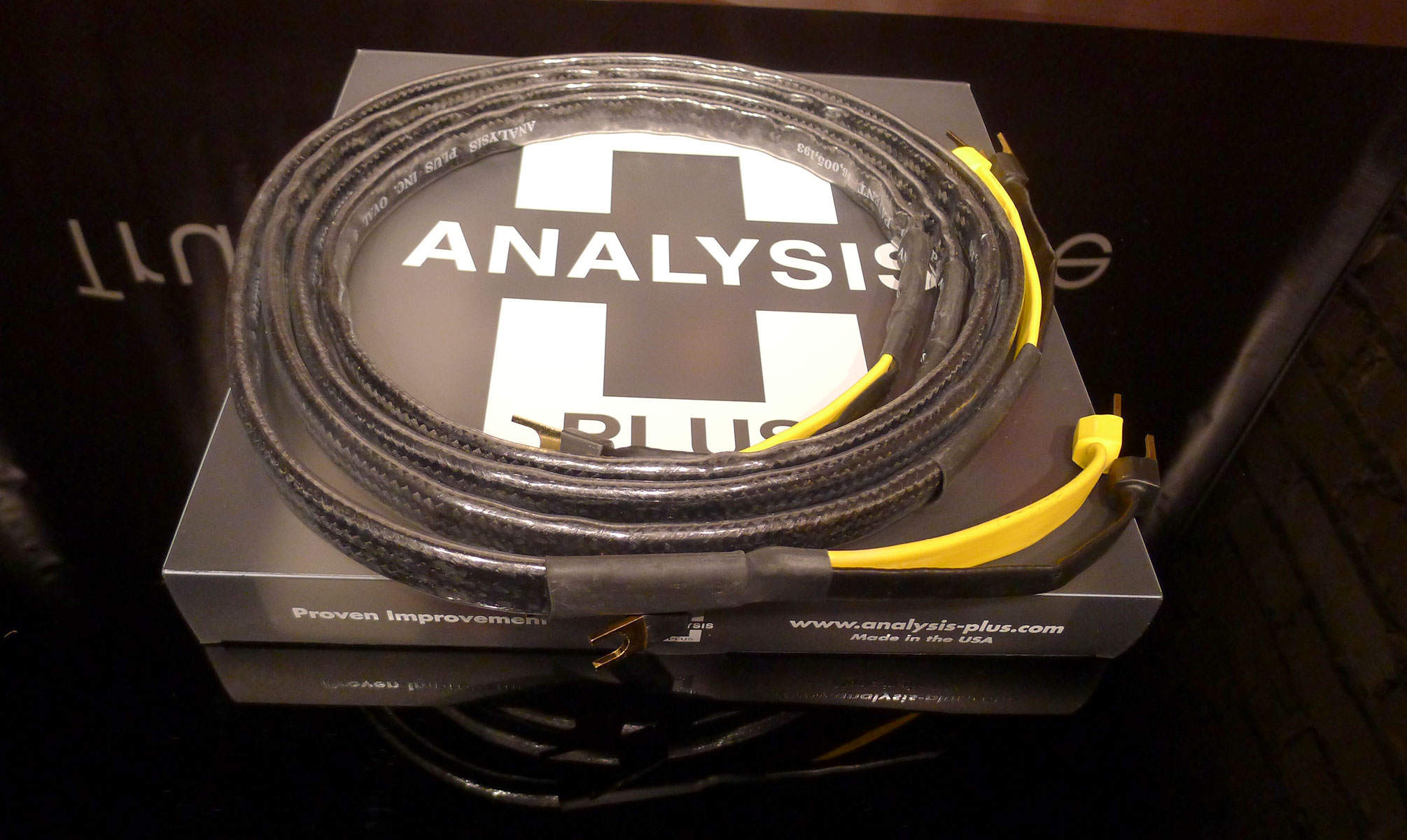 Analysis Plus Black Mesh Oval 9 Speaker Cable. Demo Sale.  At True Audiophile
