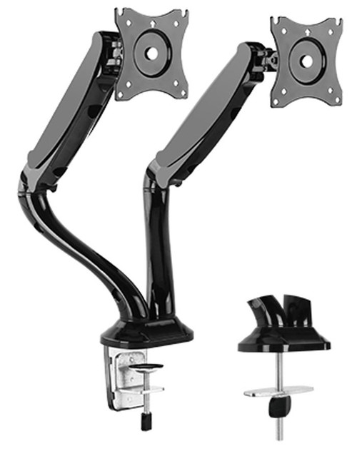 DUAL ARM TV LCD MONITOR DESK MOUNT BRACKET ARTICULATING UP DOWN IN OUT SWIVEL