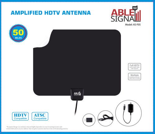 Able Signal INDOOR THIN FLAT HDTV TV ANTENNA 50 MILES AMPLIFIED 25dB GAIN VHF UHF FM