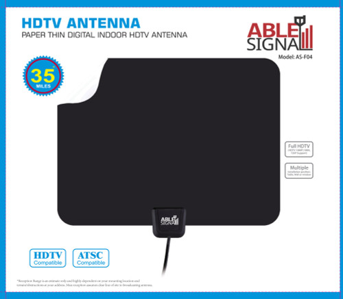 Able Signal INDOOR PAPER THIN FLAT HDTV TV ANTENNA 35 MILES VHF UHF