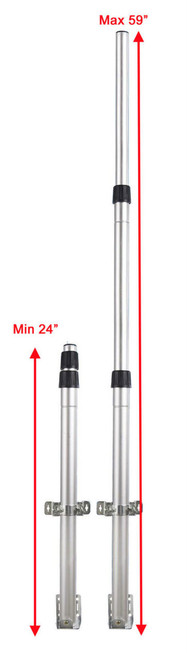 "TELESCOPING ANTENNA MAST POLE ADJUSTABLE 24"" - 59"" USE W/ OUR OUTDOOR ANTENNA"