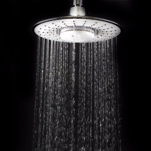8 INCH RAINFALL SHOWER HEAD W/ BLUETOOTH MUSIC PLAYER HANDS FREE PHONE CALLS