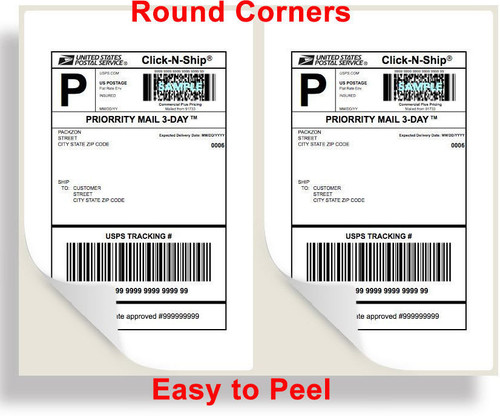 4000 SHIPPING LABELS ROUNDED CORNERS 2 PER SHEET 8.5 X 11 SELF ADHESIVE