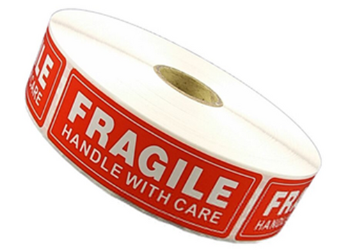 2 Rolls 2000 1 x 3 FRAGILE HANDLE WITH CARE Stickers Labels
