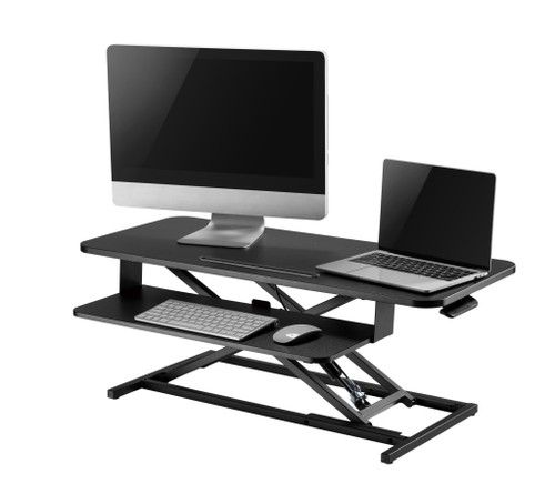 "Ergonomic Sit Stand Desk Height Adjustable Riser Tabletop Workstation 37"" Wide"